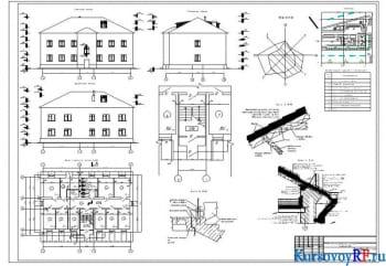 Сборный чертеж 1, Главный фасад, торцевой фасад, дворовой фасад, план типового этажа, узел 6, роза ветров, узел 4, узел 1, разбивочный план, Экспликация зданий и сооружений