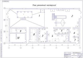 Производственная перепланировка ремонтной мастерской (формат А1)