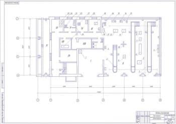 Чертёж плана машинно-тракторной мастерской после реконструкции (формат А1)