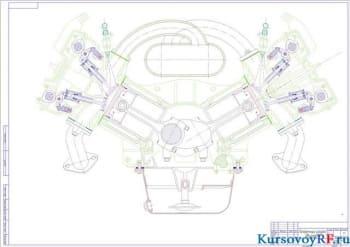 Чертеж поперечный разрез двигателя (формат А1)