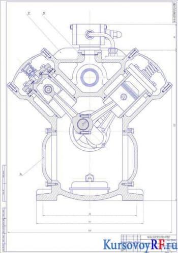 Чертеж поршневого компрессора (разрез вида спереди)