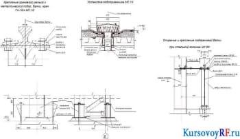 Крепление кранового рельса к металлической подкр. балки, кран Гп-10т М1:10, Установка водоприемника М1:10, Опирание и крепление подкрановой балки при стальной колонне М 1:20 эскиз