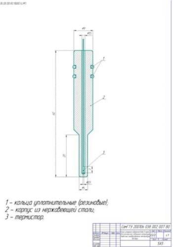Чертёж общего вида канала измерения содержания в нефти воды для комплексной скважинной аппаратуры и первичного преобразователя температуры (формат А1)