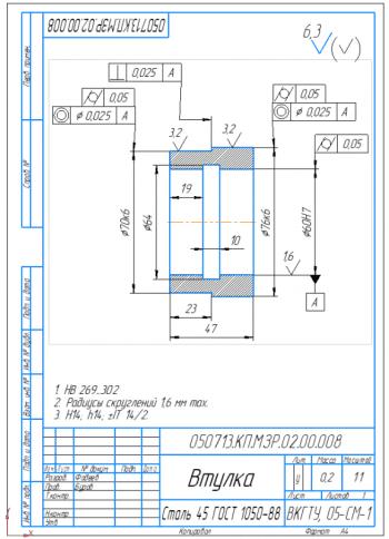 4.Рабочий чертеж втулки А4