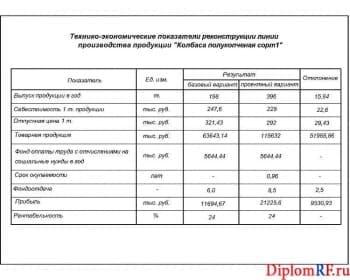Схема технико-экономические показатели (формат А)