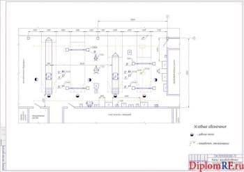 Чертёж зоны текущего ремонта производственного корпуса (формат А1 )