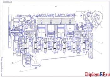 Проект V-го дизельного двигателя мощностью 400 кВт размерностью 12чн 12/13 для установки на магистральный тягач