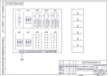 Чертёж схемы электрической монтажной ящика управления (формат А3)