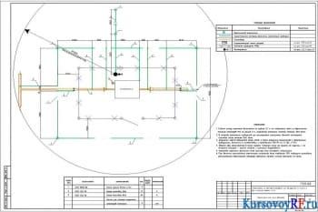 Чертеж площадки узла ГРПН-300-6-1,2 №1 наружных сетей газоснабжения