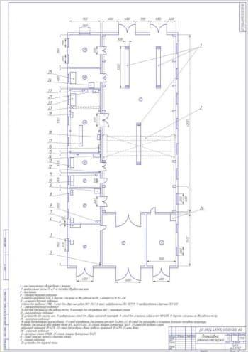 Чертёж планировки мастерской по ремонту   (формат А1)