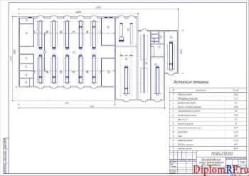 Чертеж производственного корпуса (реконструкция, без оборудования) (формат А2)