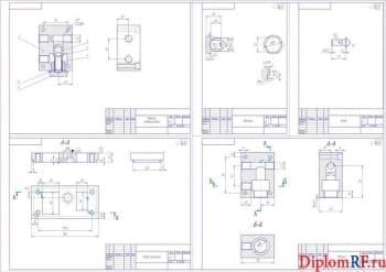 Чертежи деталей: клапан редукционный, крышка, шток, опора фильтра, корпус (формат А1)