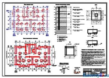 План свайного поля, план ростверков, геол. разрез, ростверк РМ-3, разрезы