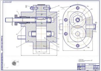 Сборочный чертеж насоса установки (формат А1)