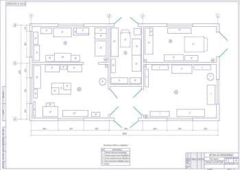 Чертеж плана пункта обслуживания технического комплекса на 400 голов (формат А1)