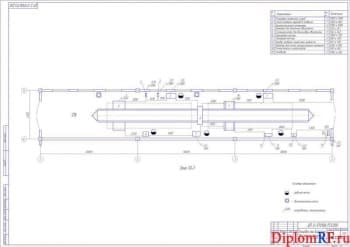 Чертеж планировки зоны диагностики до реконструкции (формат А1)